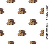 Stack Of Logs Icon In Cartoon...