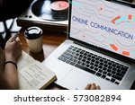 digital community stay... | Shutterstock . vector #573082894