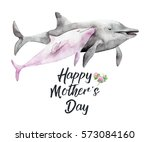 Stock photo watercolor hand drawn card for mother s day hand painted realistic illustration animals isolated 573084160