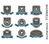 emblems and badges with crowns... | Shutterstock .eps vector #573086548