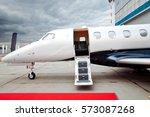 ladder with open door in... | Shutterstock . vector #573087268