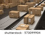 Boxes On Conveyor Roller. 3d...