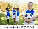 girl posing with her soccer... | Shutterstock . vector #573102364