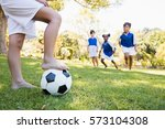 children wearing soccer uniform ... | Shutterstock . vector #573104308