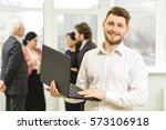 internet user. handsome young... | Shutterstock . vector #573106918