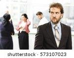 having doubts. attractive... | Shutterstock . vector #573107023