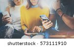 group of young hipsters sitting ... | Shutterstock . vector #573111910