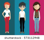 set of people icons in flat... | Shutterstock .eps vector #573112948