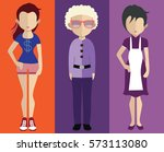 set of people icons in flat... | Shutterstock .eps vector #573113080