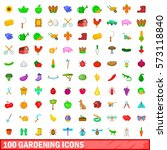 100 gardening icons set in... | Shutterstock .eps vector #573118840