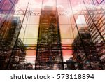 skyscrapers of canary wharf at... | Shutterstock . vector #573118894
