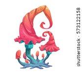 fantasy cartoon mushroom. magic ... | Shutterstock .eps vector #573122158
