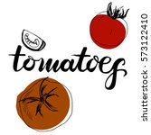 calligraphy word tomatoes and... | Shutterstock . vector #573122410