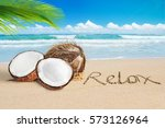 Open Coconut On Tropical Beach...