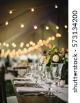 wedding table setting with... | Shutterstock . vector #573134200