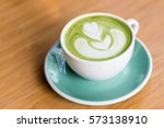 hot matcha green tea with shape ... | Shutterstock . vector #573138910