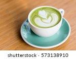 hot matcha green tea with shape ...   Shutterstock . vector #573138910