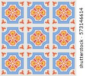 portuguese azulejo tiles. blue... | Shutterstock .eps vector #573146614
