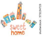 set of multicolor sketched... | Shutterstock . vector #573154723