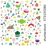 colorful food and drink icon...   Shutterstock .eps vector #573155380