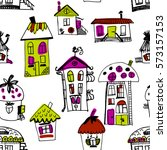 seamless pattern with sketched... | Shutterstock . vector #573157153