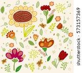 flower set with sunflower. hand ...   Shutterstock . vector #573157369