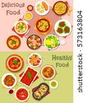 meat dishes icon set of meat... | Shutterstock .eps vector #573163804
