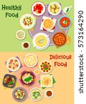 comfort food icon set of... | Shutterstock .eps vector #573164290