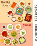 healthy dinner dishes icon set... | Shutterstock .eps vector #573164350