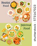 dinner dishes with fish and...   Shutterstock .eps vector #573167023