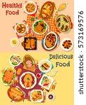 baked fish and meat dishes icon ...   Shutterstock .eps vector #573169576
