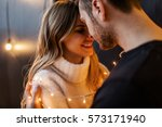 young couple in love hug each... | Shutterstock . vector #573171940