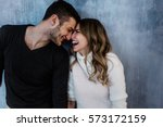 Stock photo young couple in love have fun i on new years eve or st valentines day 573172159