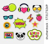 set of color vector hand drawn... | Shutterstock .eps vector #573173269