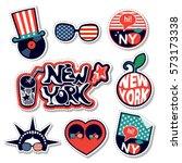 new york stickers   Shutterstock .eps vector #573173338