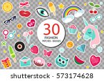 fashion set of patches 80s... | Shutterstock .eps vector #573174628