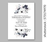 anemone wedding invitation card ... | Shutterstock .eps vector #573174970