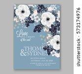 anemone wedding invitation card ... | Shutterstock .eps vector #573174976