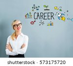 Small photo of Career text with business woman on a gray background
