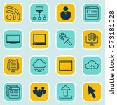 set of 16 web icons. includes...