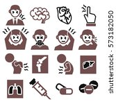 office syndrome  sick icons set | Shutterstock .eps vector #573182050
