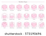7d63fa24032e6a ... Vector illustration set of various neckline types for women's' fashion. Eighteen  neck lines in ...