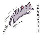 Stock vector cute and funny grey cat jumping vector 573194386