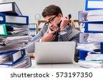 busy businessman under stress...   Shutterstock . vector #573197350