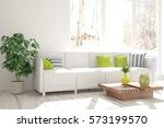white room with sofa and winter ... | Shutterstock . vector #573199570