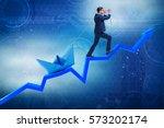 businessman pulling boat over... | Shutterstock . vector #573202174