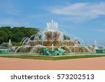 chicago's buckingham fountain ... | Shutterstock . vector #573202513