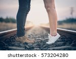 couple in love holding hearts. | Shutterstock . vector #573204280