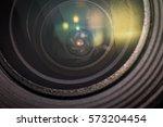 Small photo of Closeup macro diaphragm of camera lens showing aperture blades