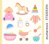 cute baby icons stickers. flat... | Shutterstock .eps vector #573205354